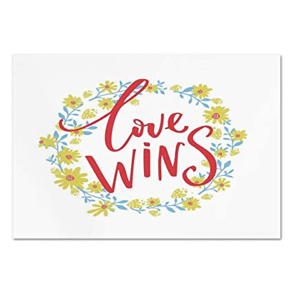 Large Wall Mural Sticker RomanticLove Wins Quote In Floral Wreath Motivational Inspiration Life