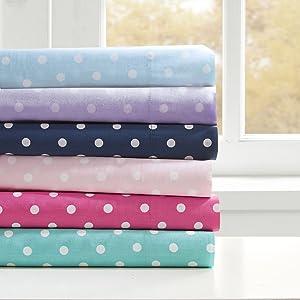 Mi-Zone Polka Dot Printed 100% Cotton Percale Ultra Soft 4 Piece Sheet Set for Girls Bedding, Full Size, Seafoam