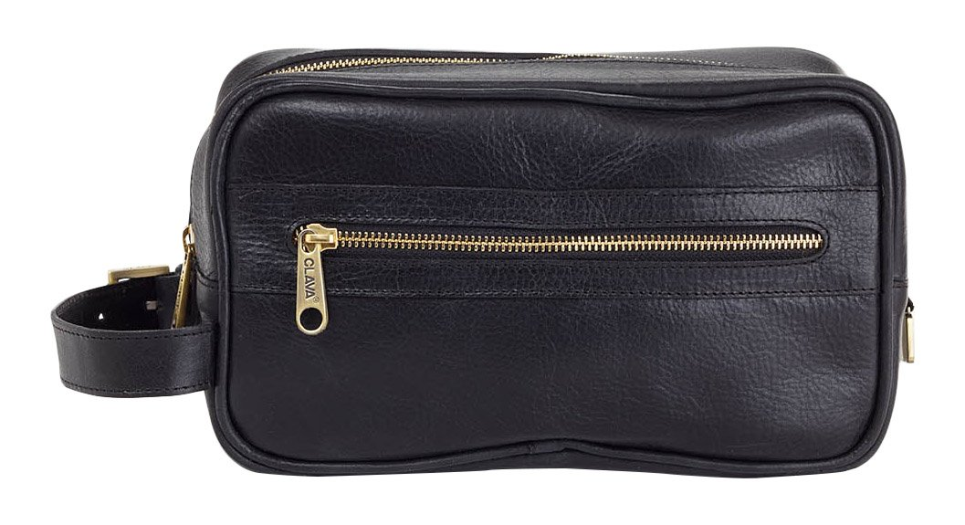 Clava Santa Fe Leather Toiletry Case, Black by Clava