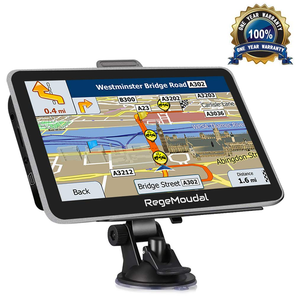 Sat Nav, RegeMoudal Car GPS 7 Inch Touch Screen GPS Navigation for Car System 8G Memory Truck Navigator Multimedia Pre-installed UK and EU Maps, Free Lifetime Updates Rocket Roar