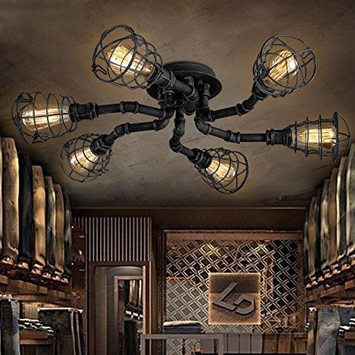 (6 Lights Industrial Cage Pipe Pendant Light-LITFAD Retro Rustic Iron Black Metal Vintage Hanging Pendant Lamp Edison Ceiling Chandelier Semi-Flush Fixtures)