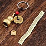 Hotop 3 Pieces Chinese Gourd Brass Wu Lou Keychains Feng Shui Coins Calabash Decorations Pendant Key Rings for Good Luck Fortune Longevity Wealth Success