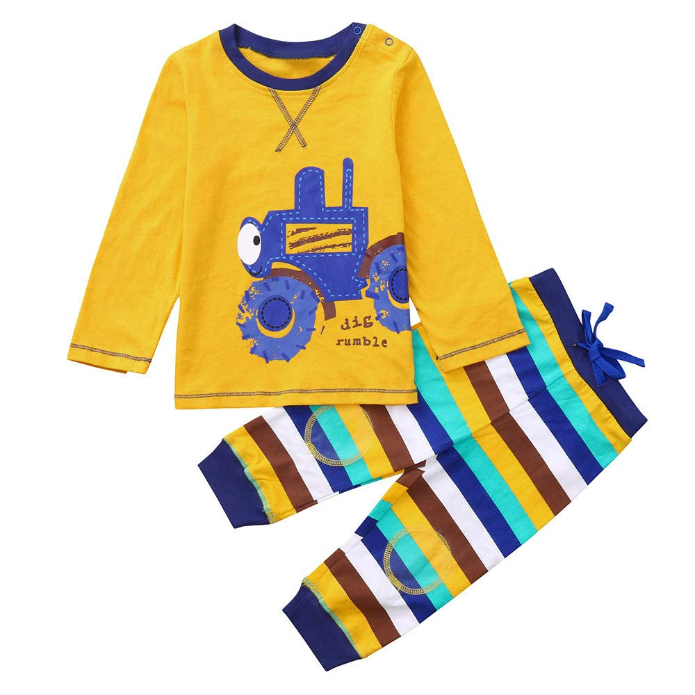 Baby Boys Pyjamas Set, Toddler Long Sleeve Cartoon Car Print Tops+ Striped Pants Sleepwear Outfits for 2-7 Years Old (Yellow, 3Years) Kaiki