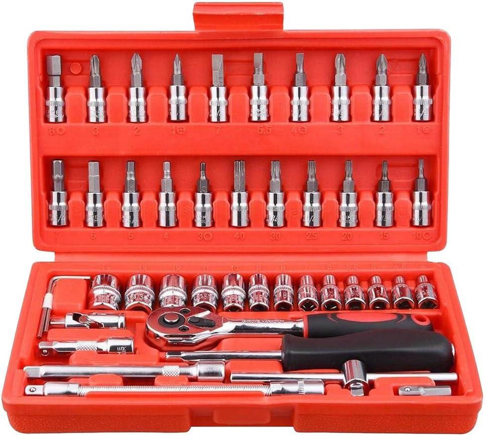 llave de carraca llave de carraca 46 piezas llave de combinaci/ón Juego de herramientas para reparaci/ón de coches juego de herramientas con maletero