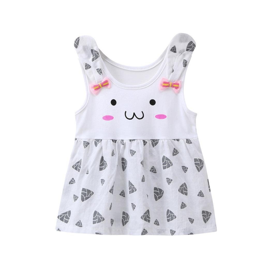 UOMOGO® Vestito Orecchie di Coniglio Floreale Senza Manica Cotone Abito Estate Bambina Bambine e ragazze 3 a 24 Mesi