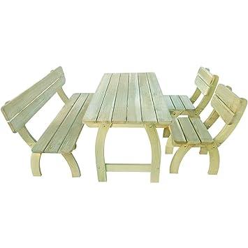 TABLE jardin, avec banc et chaises, type pique-nique en bois massif ...