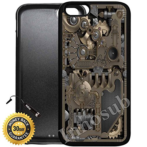 Custom iPhone 6/6S Case (Steampunk Mechanical Gears) Edge-to-Edge Rubber Black Cover with Shock and Scratch Protection | Lightweight, Ultra-Slim | Includes HD Tempered Glass and Stylus Pen by - Steampunk Cover