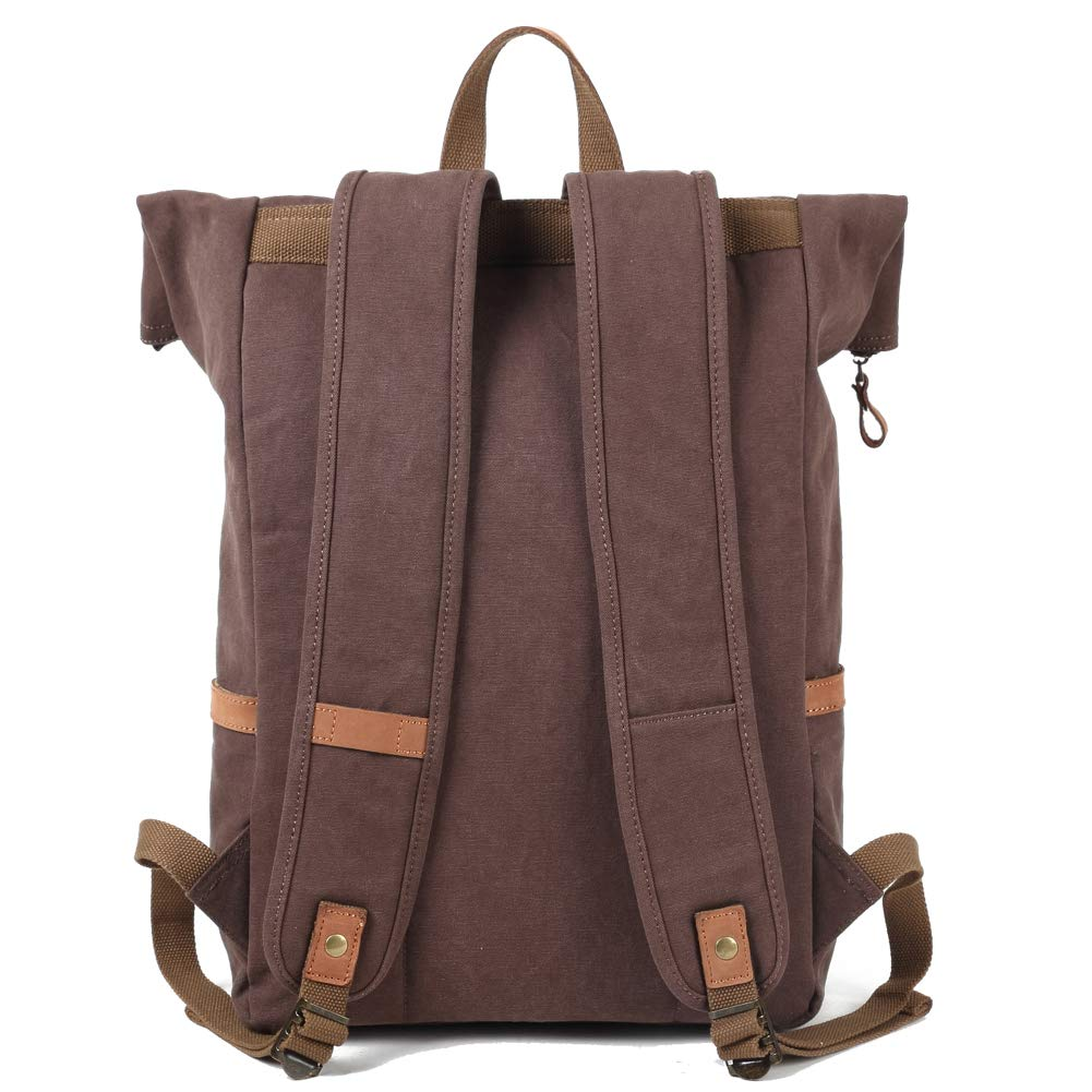 Amazon.com  Kemy s Mens Canvas Backpack Leather Rucksack for Men Travel  Backpacks Vintage Bookbag with Laptop Compartment Rustic Large Unisex Gifts  Dark ... f7d2e06d58