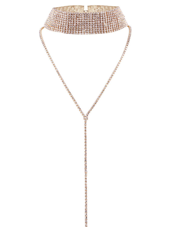 Glamaker Women's Wide Thick Diamond Neck Rhinestone Choker Necklace with Pendant Gold