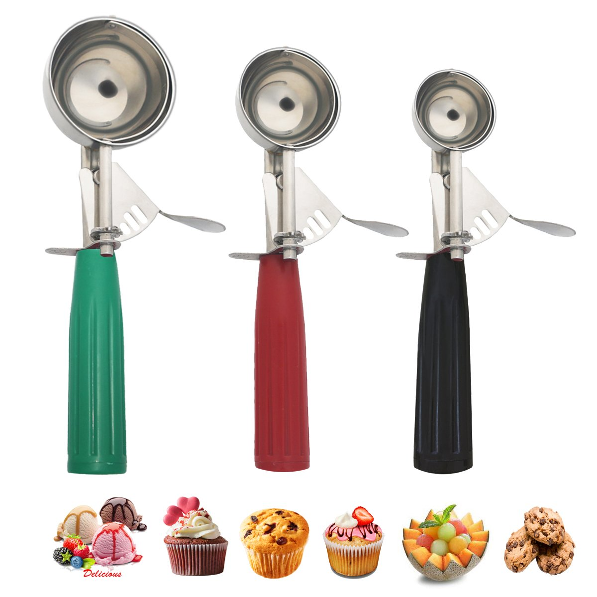Cookie Scoop Set, Ice Cream Scoop with Trigger, Multiple Size Large-Medium-Small Size Professional 18/8 Stainless Steel Cupcake Scoop by Saebye (Image #1)