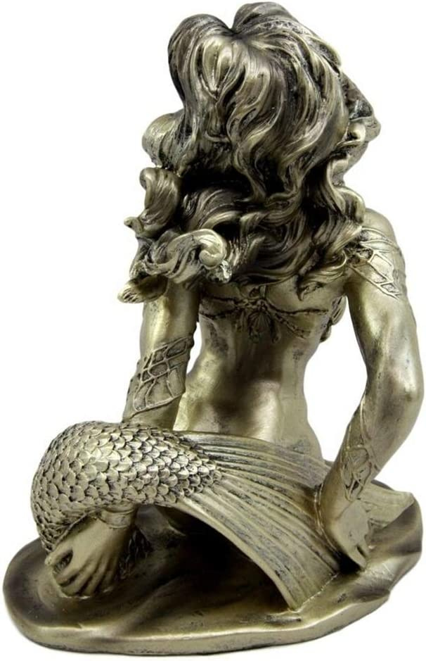 """Naked Nude Bronzelike Legendary Mermaid Creature Sea Figurine Statue 7/""""H Fantasy"""