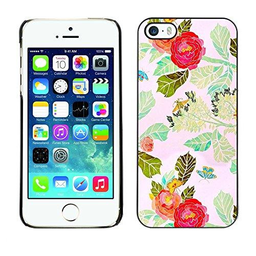 TopCaseStore / caoutchouc Hard Case Housse de protection la Peau - Red Flower Watercolor Leaves - Apple iPhone 5 / 5S