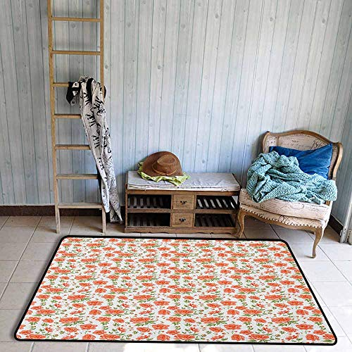 Indoor/Outdoor Rug,Flower Romantic and Vintage Gardening Plants Bridal Theme Buds and Blossoms,Anti-Slip Doormat Footpad Machine Washable,5'6