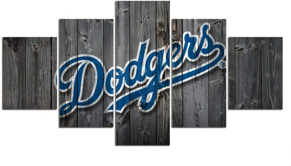 Dodgers Canvas Prints Football Team Wall Decor Pictures Wall Art Sports Paintings for Man Cave Sport Poster with Frame Ready to Hang(60''Wx32''H)