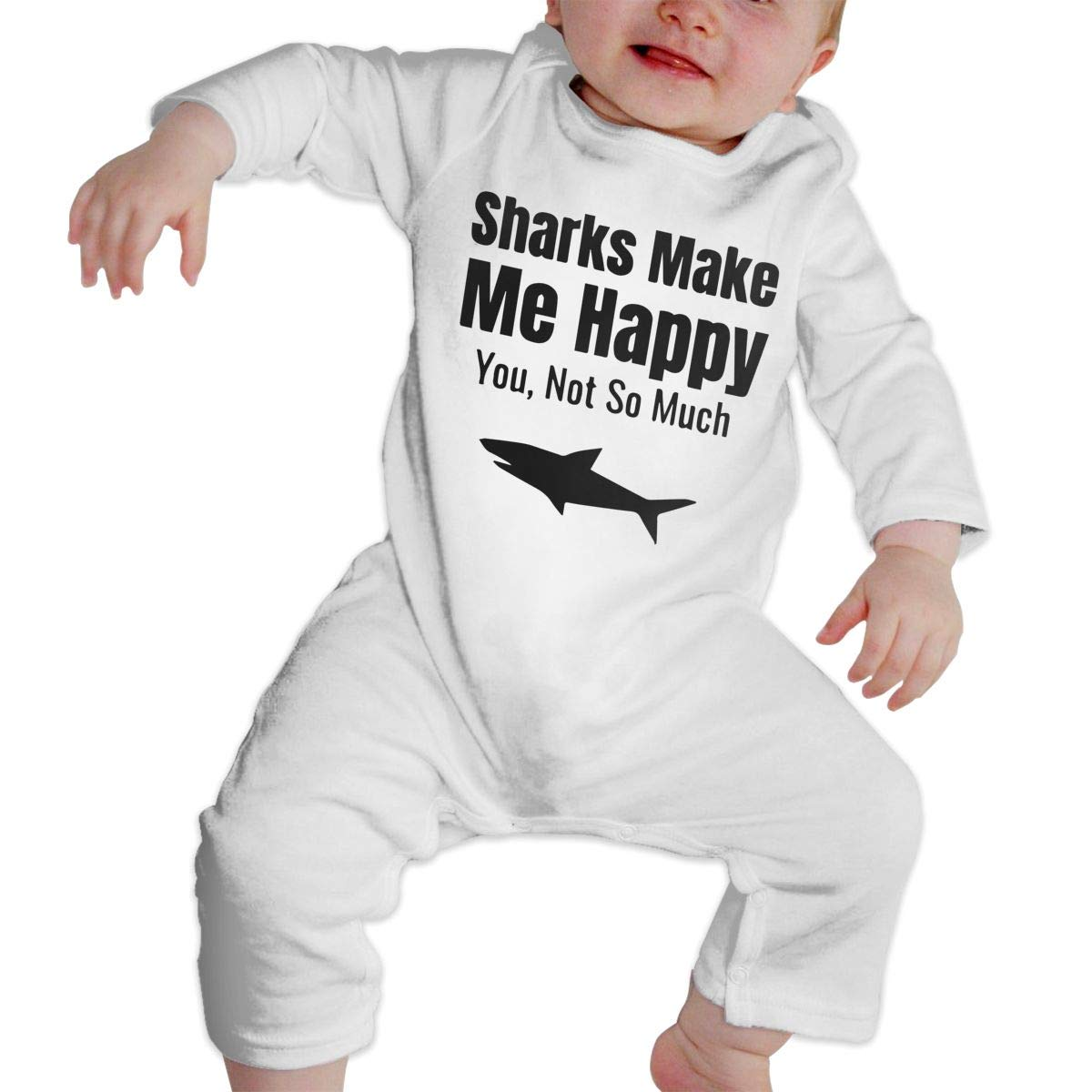 Infant Babys Cotton Long Sleeve Shark Lovers 1 Baby Clothes One-Piece Romper Clothes