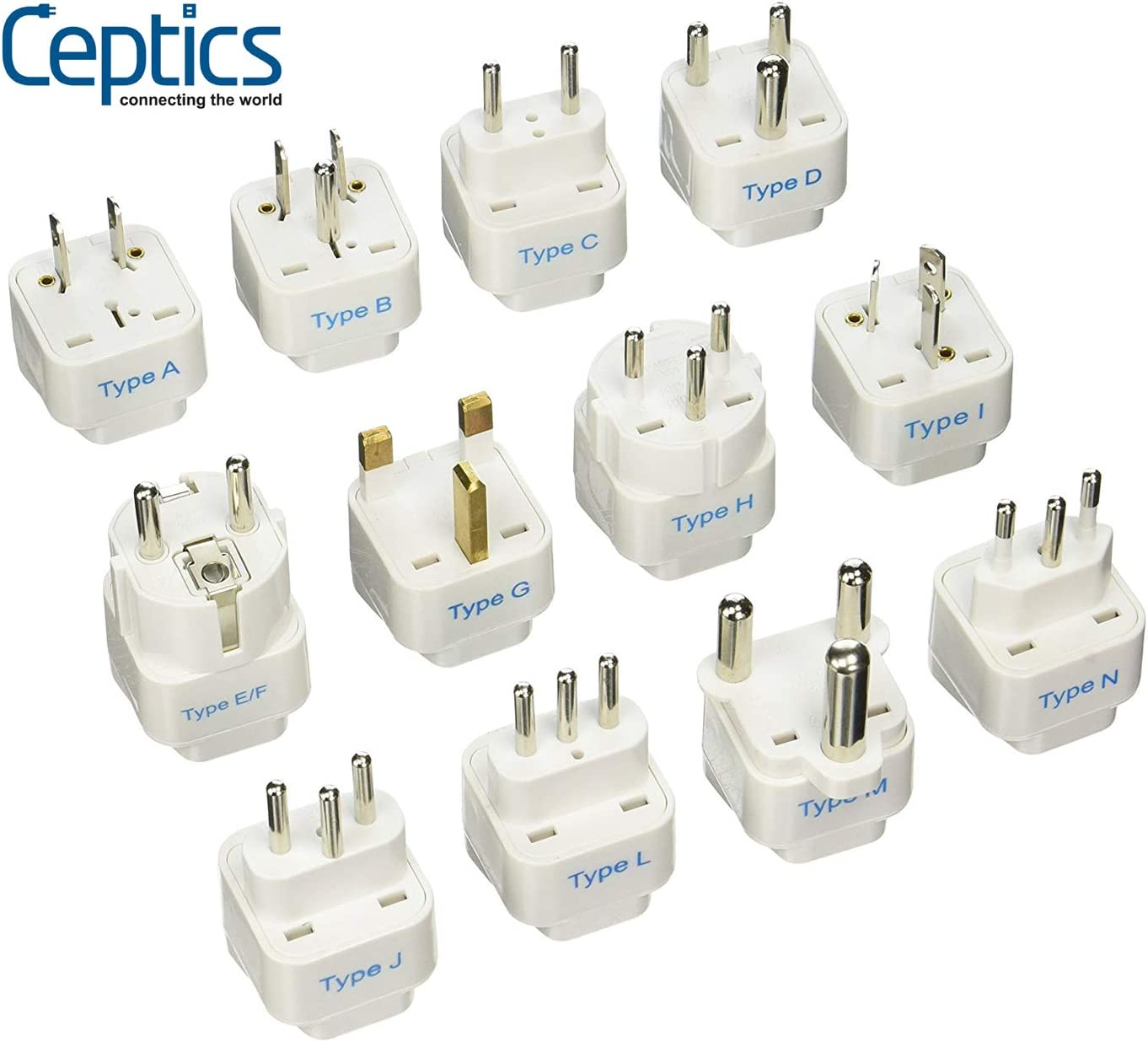 Ceptics 12Pcs International Travel Worldwide Grounded Universal Plug Adapter Set - Charge Your Devices from Anywhere in The World