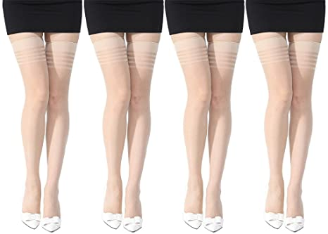 906513cf1 Stylefolio® Women s Thigh High Stockings Excellent Stretch Long Comfort  Sheer Super Fine Stockings (2 Beige)  Amazon.in  Clothing   Accessories