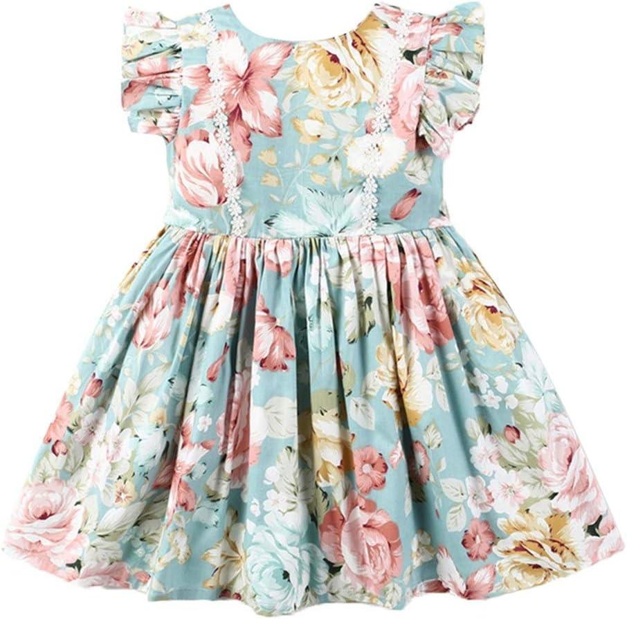 Summer Little Girls Floral Dresses Sleeveless Round Neck Ruffle Flower Print Dressc