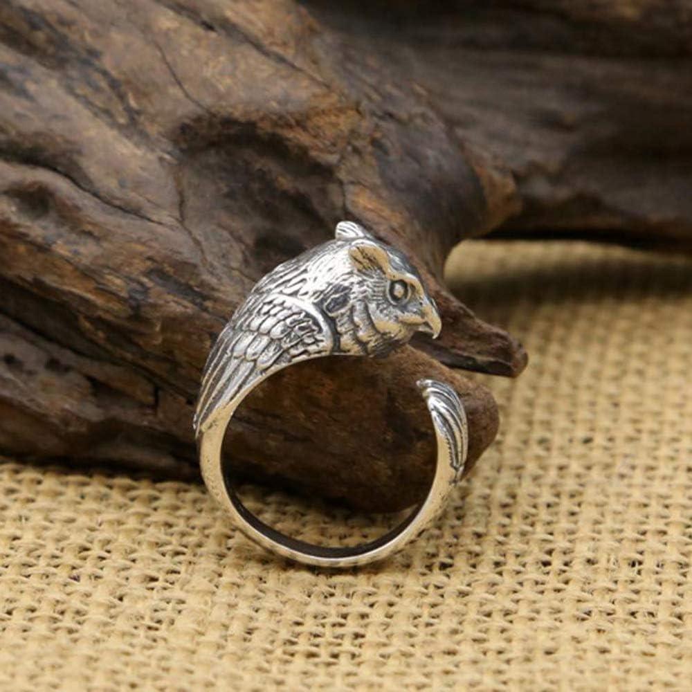 MAFYU S925 Sterling Silver Men Women Style Retro Fashion Owl Ring Gift to Dear