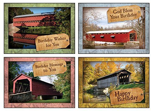 12 Boxed Birthday Greeting Cards - Covered by His Love - KJV Scripture Included in Each Card! Bulk Birthday Cards & 12 Envelopes Boxed Cards Inspiring Photography of Bridges ()