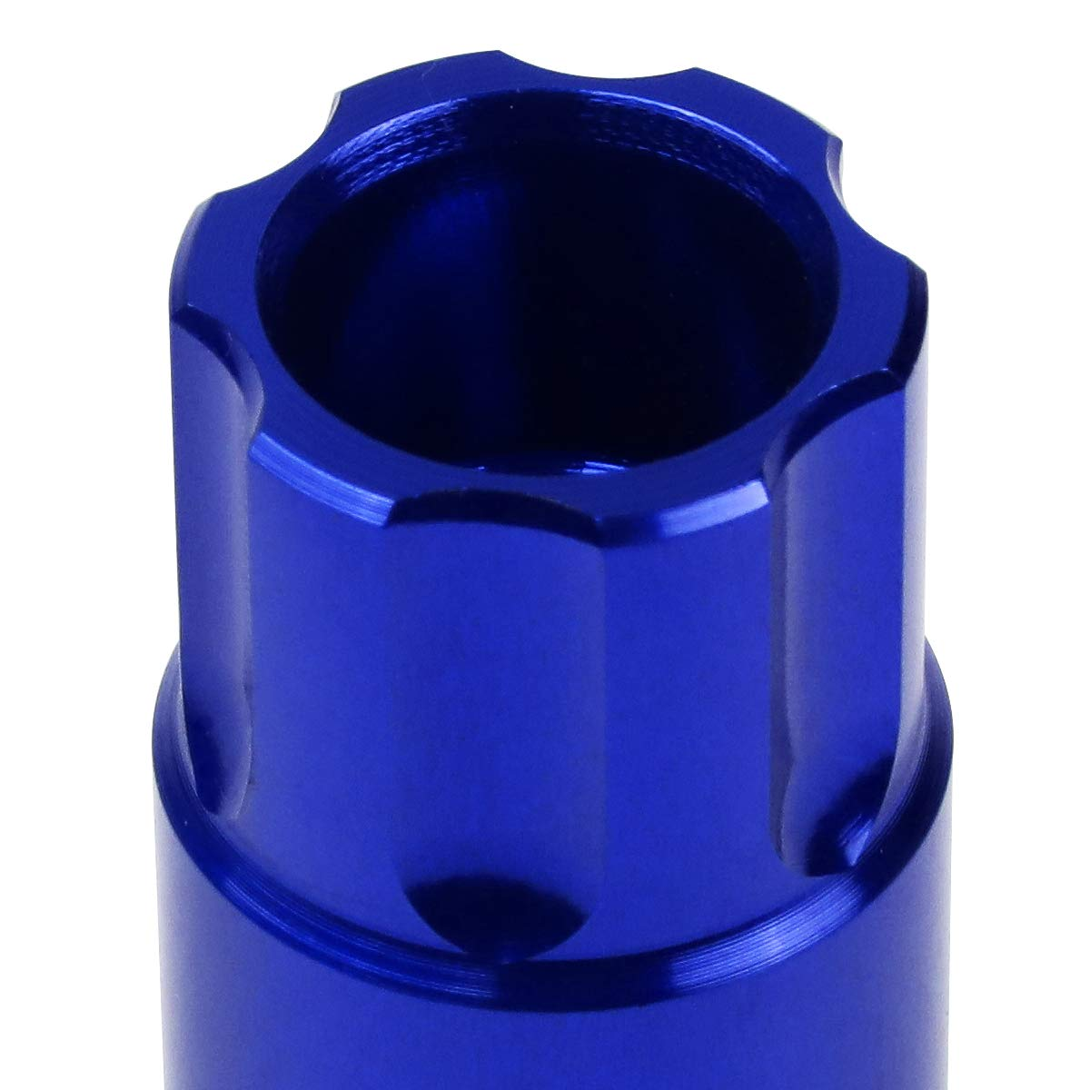J2 Engineering LN-T7-011-125-BL Blue 20Pcs M12 x 1.25 7075-T6 Aluminum 50mm Open-End Lug Nut w//Socket Key