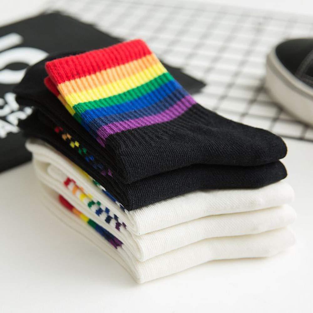 Regenbogen gestreifte Socken,Herbst und Winter/ neue baumwolle/ Damen Regenbogen/ Streifen warm Socken Mid Rohrsocken URIBAKY