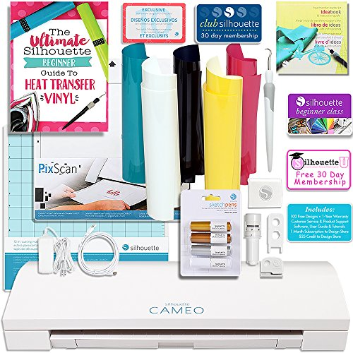 Silhouette CAMEO 3 T-Shirt Starter Bundle with Starter Guide, Online Class, 4 PC. Metallic Pens, Heat Transfer Starter Kit, Pixscan and More! by Silhouette America