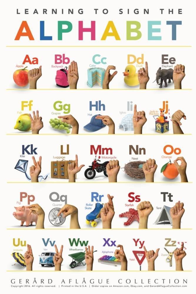 Children's American Sign Language Alphabet Print 36 x 24 in