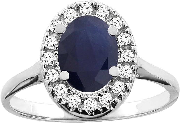 Amazon Com 14k White Yellow Gold Natural Australian Sapphire Ring Oval 8x6mm Diamond Accent Sizes 5 10 Jewelry