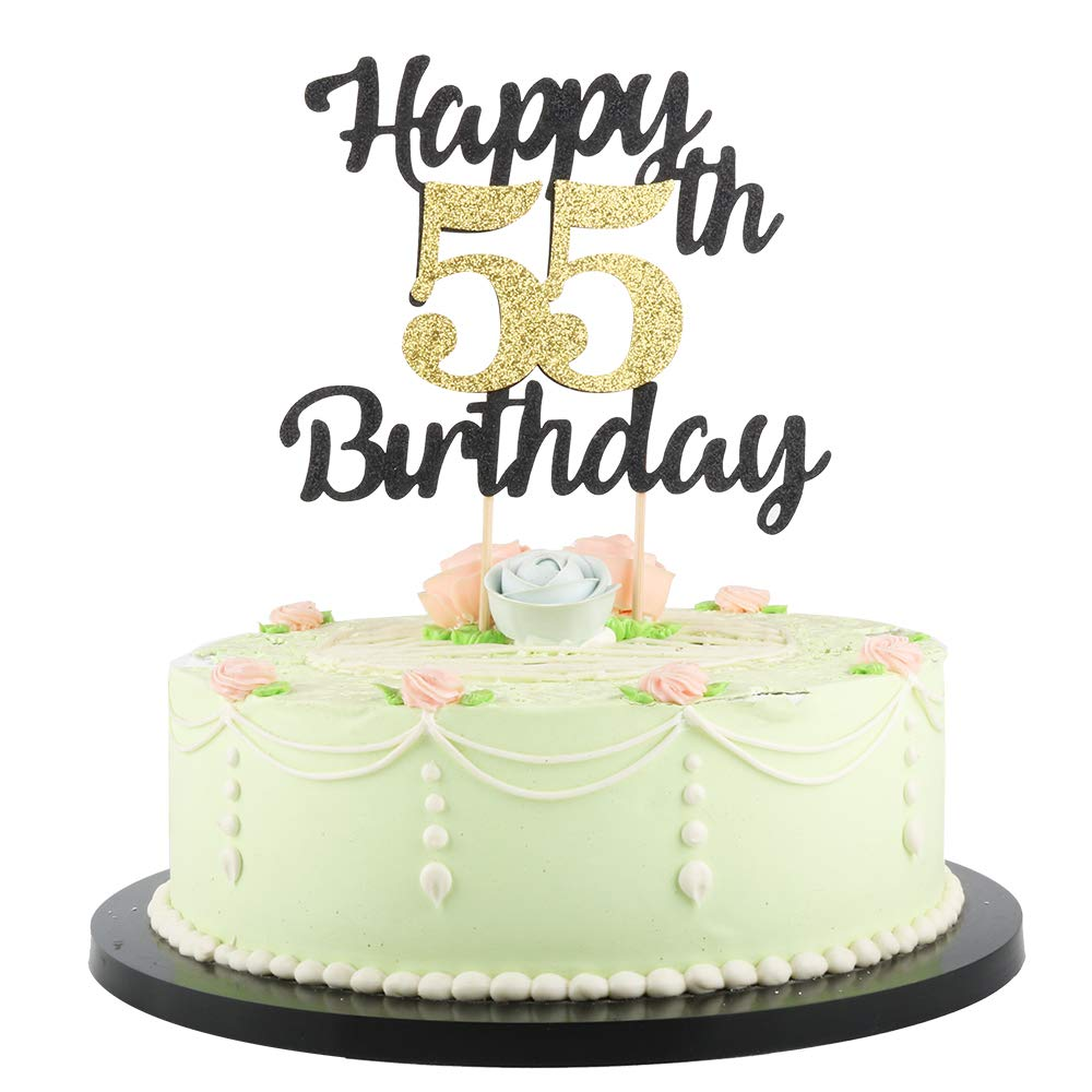 Happy Birthday Cake Topper.Lveud Happy Birthday Cake Topper Black Font Golden Numbers 55th Birthday Happy Cake Topper Birthday Party Decorations 55th