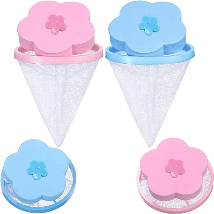 NEIJIANG Plum Washing Machine Hair Filter Cleaning Mesh Bag,Floating Pet Hair Lint Mesh Remover,Washing Machine Lint Catcher,Reusable Floating Laundry Lint Mesh Bag 4 Pieces (Blue,Pink)
