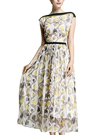 POKWAI Women's Boat-neck Printed Silk Maxi Dress-XL