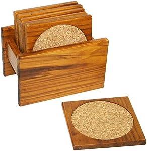 Home Basics Pine 6-Piece Coaster Set
