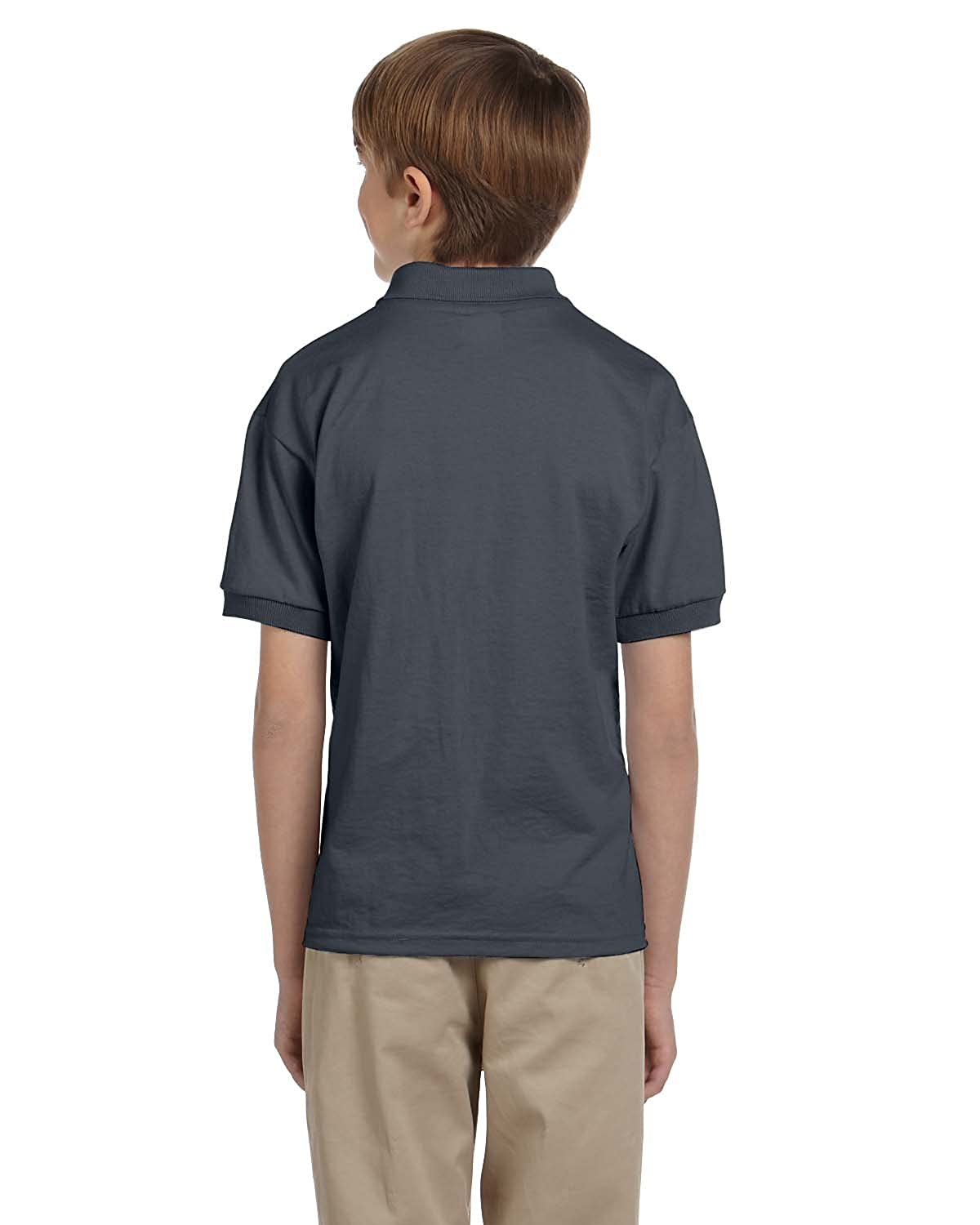 Gildan Boys 5.6 oz DryBlend 50//50 Jersey Polo G880B -Dark Heath -M-12PK