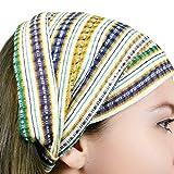 "MayaWear Bandana-""Penelope"" Handwoven 100% Cotton with Elastic Backing Easy to wear"