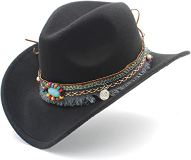 MUMUWU Women's Western Cowboy Hat for Lady Tassel Felt Cowgirl Sombrero  Caps (Color : Black, Size : 56-58cm) at Amazon Women's Clothing store