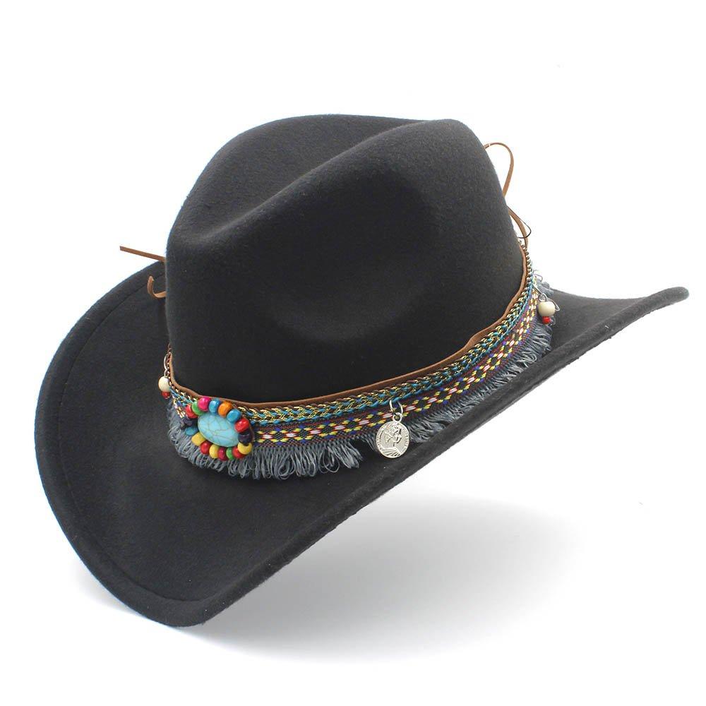 GeorgeB- Wool Fashion Western Cowboy Hat for Lady Tassel Felt Cowgirl Sombrero Caps for Women Men (Color : Black, Size : 56-58cm)