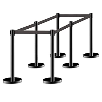 4 pcs New Retractable Stanchions Crowd Control Black Belt Posts Queue Barrier
