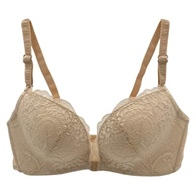 49850e1c51 Bornbayb Women s Front Closure Lace Bra Wire-Free Comfort Soft Padded up Bra  With Removable