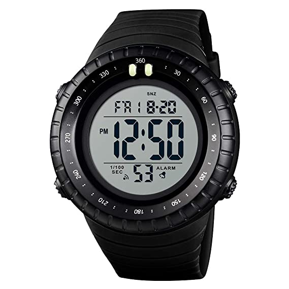 FeIWen Grande Dial Deportivo Digitales Relojes de Mujer y Hombre Plástico Bisel con Goma Correa 50M