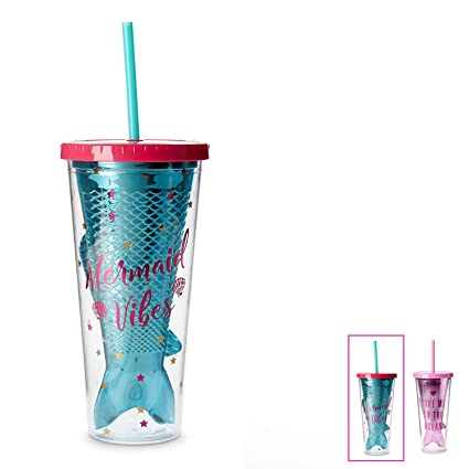 6ccee8fe3bb Mermaid Insulated Plastic Tumbler Cup: Tri-Coastal Design Reusable  Shatterproof Drinking Glass Tumblerswith Lid & Straw - Double Wall BPA Free  ...