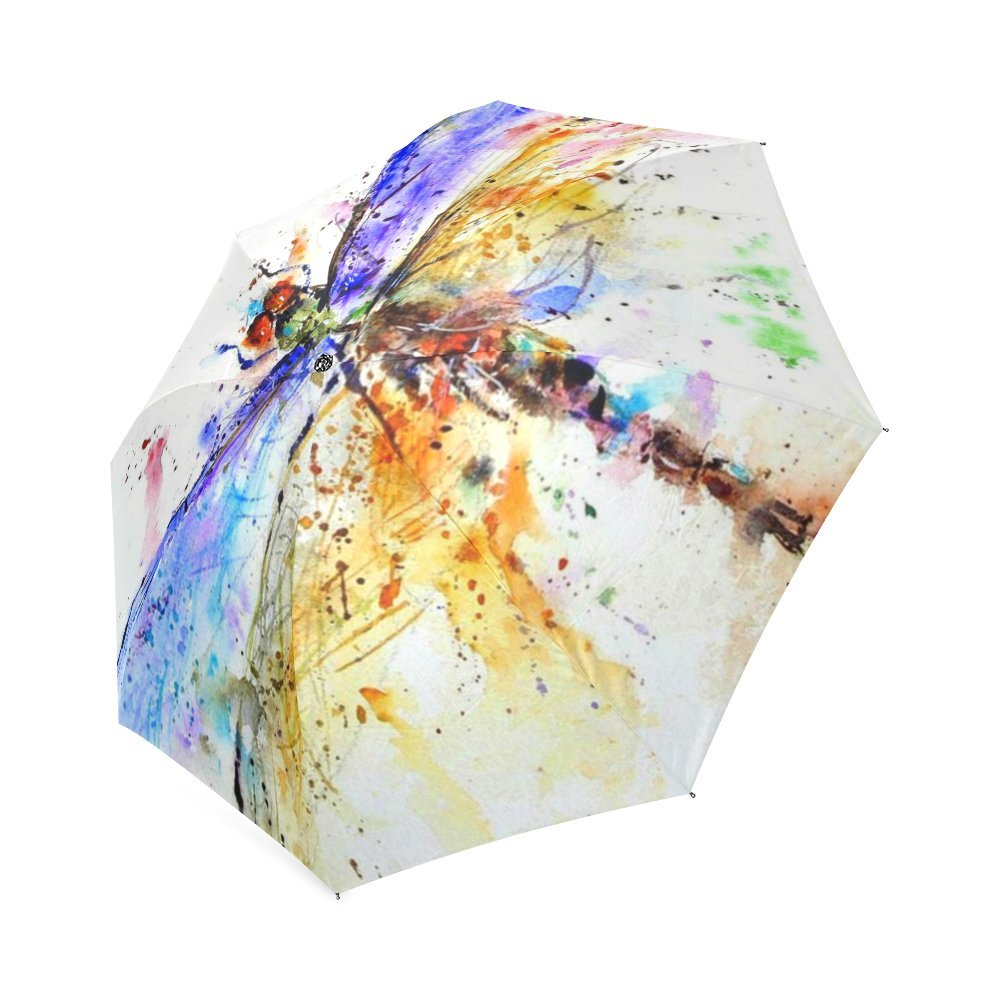Fashionable Colorful Dragonfly Art Automatic Compact Travel Windproof Rainproof Umbrella Dragonfly Umbrella