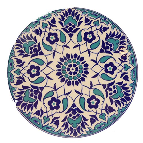 Handmade Turkish Ceramic Pottery Round Tile Trivet (Blue Arabesque 5322)