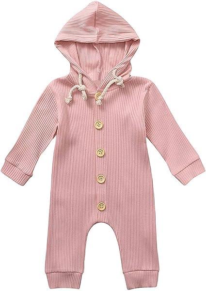 Newborn Kids Baby Boys Girls Romper Hood Jumpsuit Bodysuit Outfit Clothes 0-12M