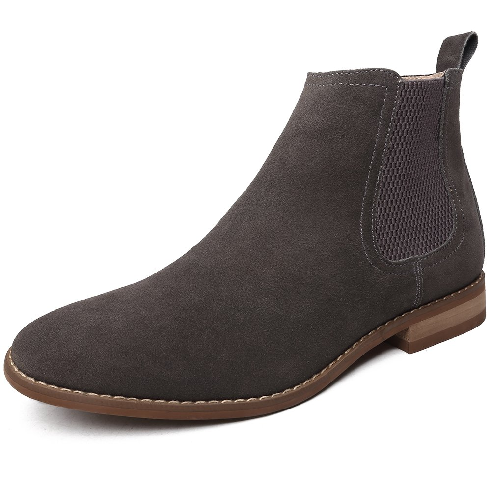 OUOUVALLEY Classic Slip-on Original Suede Chelsea Boots (16 N(A) US, Grey)