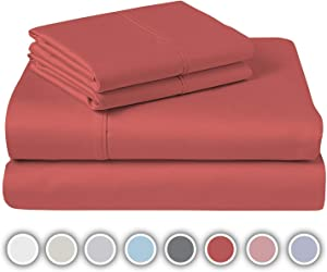 """COZERI 600 Thread Count Luxury Sheet Set, 100% Cotton Sheets, Breathable, Soft & Silky Sateen Weave, Fits Mattress Upto 17"""" Deep Pocket, 4 Piece Bed Sheets Set - (California King, Warm Spice)"""