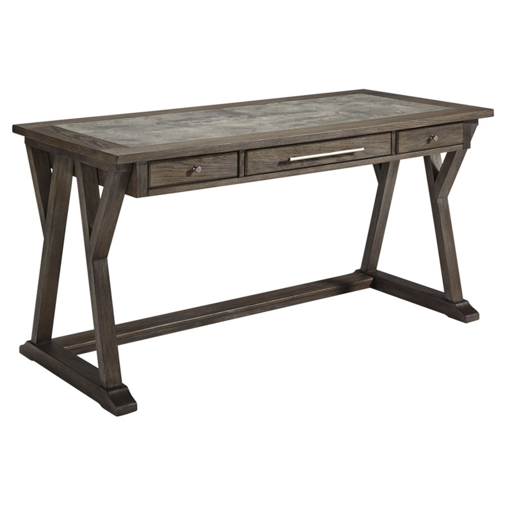 Ashley Furniture Signature Design - Luxenford Large Home Office Desk - Casual - 3 Drawers/Faux Bluestone Inset Top - Grayish Brown Finish - Brushed Nickel Hardware by Signature Design by Ashley