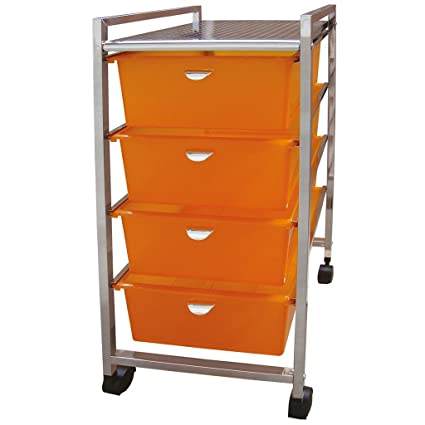Laroom Carrito Ancho 4 cajones, Chrome Acero Inoxidable Structure y PP Drawers, Naranja