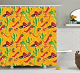 Mexican Decorations Shower Curtain by Ambesonne, Elements with Cactus Hat Chili Pepper Pattern over Grunge Background Print, Fabric Bathroom Decor Set with Hooks, 70 Inches, Multi