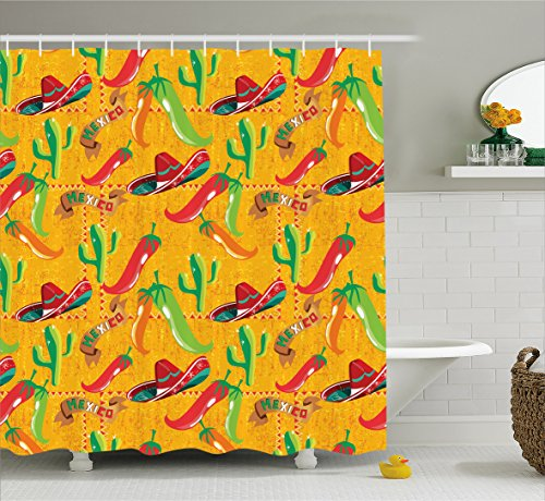 Mexican Decorations Shower Curtain by Ambesonne, Elements with Cactus Hat Chili Pepper Pattern over Grunge Background Print, Fabric Bathroom Decor Set with Hooks, 70 Inches, Multi by Ambesonne